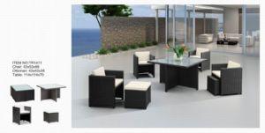 Speisetisch-und Stuhl-Rattan und Glasim freienmöbel
