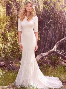 Alineada de boda de la sirena de la envoltura del vestido nupcial del cordón de las fundas del 1/2 W175