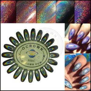 ホログラフィックレーザーの釘のHoloの光沢があるきらめきの虹のクロム顔料の粉