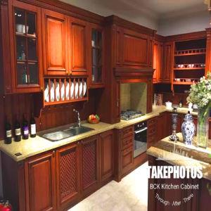 Bck Kundenspezifische Antike Amerikanische Art Rote Kirschfestes  Holz Rahmen Küche Schränke