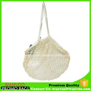 Asa larga bolsa de malla de algodón para hortalizas y frutas