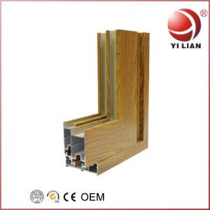2019 Nouvelle conception finition en bois couleur en bois de revêtement d'alimentation Profil en aluminium pour porte et fenêtre