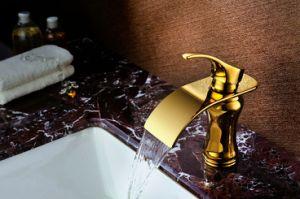 金カラー浴室の洗面器の銅のコック(SD-L-003C)