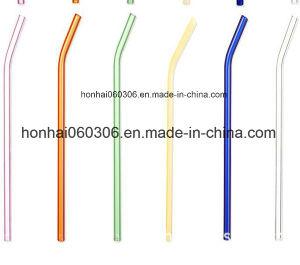 180mm 8mm vidrio curvado reutilizable Pajas con varios colores: verde, naranja, morado, rosa