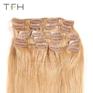 Cabelos Moda superior 14161820222426 Encaixar Remy Extensões de cabelo humano de espessura 8 PCS/Definir Virgem Brasileira Remy Hair #27 encaixar na cabeça cheia de cabelo grande conjunto
