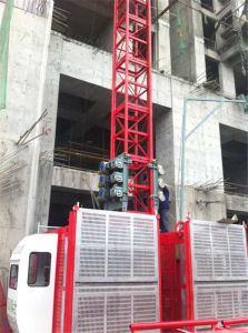 2t China Hsjj Ce Construcción ascensor elevador ascensor jaula doble