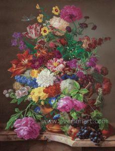 De hand schilderde het Klassieke Schilderen van de Bloem van de Impressionist