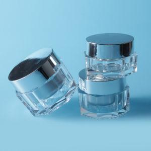 15g 30g 50gの贅沢な八角形の形のAcyrlicの瓶はとの銀製の帽子をよじ登る
