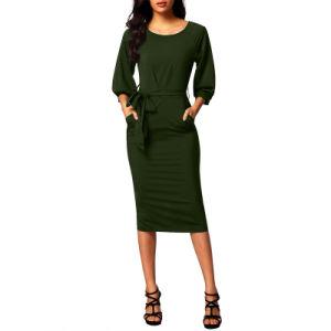 Manchon de bouffée de Fashion Mesdames noir ceinture en mousseline robe crayon MIDI