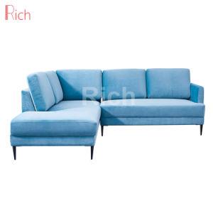 Tecido azul transversal Sofá-Cama canto moderno para a sala de estar