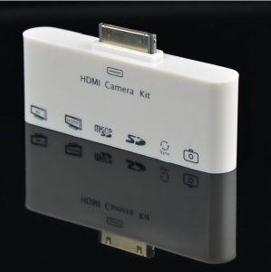 HDMI AV TVケーブルのドックUSBの接続キットiPad 1/2/3/iPhone (OM-P904)のためのマイクロSDのカード読取り装置
