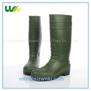 緑の耐久の制酸性オイルの鋼鉄つま先を搭載する反酸っぱい反アルカリのフリーセイフティのGumboots PVC雨靴