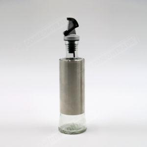 Bottiglia di vetro dell'all'aceto dell'olio del cappotto del metallo