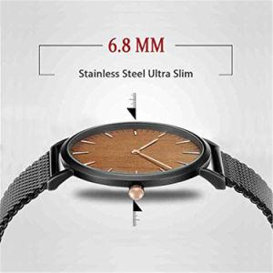 Moda masculina Ultra face de madeira elegante e minimalista Analog Relógios de quartzo com banda de malha de aço inoxidável #V397