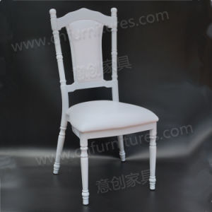 2018 nouveau style de l'empilage de métal de location de salles de banquet de l'événement fête de mariage chaise avec sièges en vinyle blanc (YC-A188)
