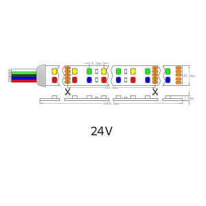 UL Ce 24VCC Epistar LED SMD2835 240/M RGBA Lámina Flexible de luz LED