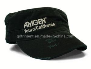 Moagem de moda lavada metálico entrelaçado Bordados Sport Cap Militar (TRM016)