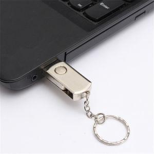 キーホルダーとのステンレス製の金属の旋回装置USBのフラッシュ・メモリ