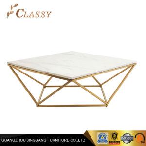 유리와 대리석 다이아몬드 모양 스테인리스 프레임 커피용 탁자