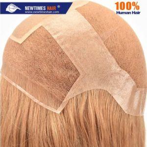 Mulheres personalizado rendas francesas, PU e seda Top de cabelo humano peruca