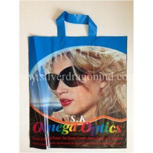 Kundenspezifische Qualität gedruckter weiche Schleifen-Plastikträger-Beutel für das Tuch-Einkaufen