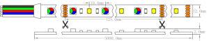 Marcação Epistar UL 5050+2835 96 LEDs/M 23W/M CRI90 3500K RGBW luz Fita LED