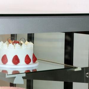 정면은 다방 상점을%s 유리제 케이크 전시 내각을 구부렸다