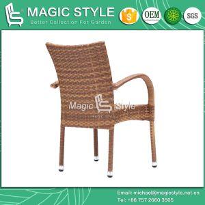Piscina Vime Cadeira de jantar com mesa com cadeira de jantar de vime pátio jardim cadeira empilhável (Jada conjunto jantar mobiliário)