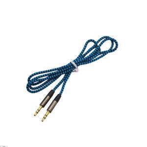Nylon reforçado trançado com plugue de 3,5 mm macho para macho do cabo de áudio