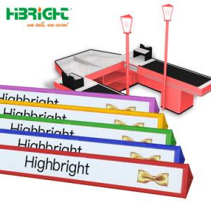 Plástico triángulo divisor de mostrador de bar con logotipo impreso