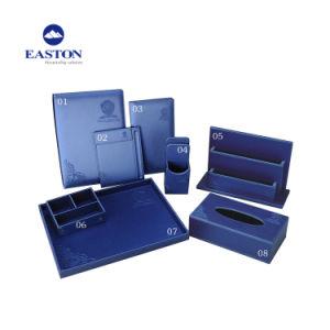 Spezielle Form-Himmel-Blau-Leder-Doppelt-Speicher-Standplatz-Zeitschriften-Zahnstange