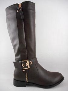 2015 Fashion Lady Chaussures femmes plat Boot avec cheville Design décontracté de boucle de fermeture à glissière dorée