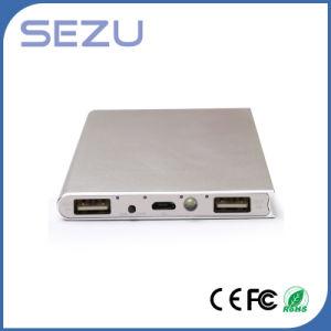 aleación de aluminio Slim Portable 10000mAh Libro de la juventud con el Banco de Potencia de Salida Dual, la luz LED