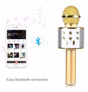 Новый портативный беспроводной технологией Bluetooth WS-858 стерео караоке микрофона караоке поддержка TF карты для телефона Samrt