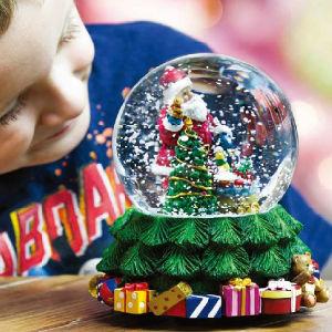 Bola de cristal la caja de música para la decoración de Navidad