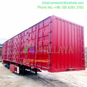 Caixa de transporte de trigo Correia inferior a quitação Tipping semi reboque