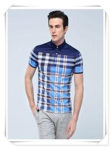 Il colore blu di stampa completa della striscia gira giù la maglietta degli uomini del collare