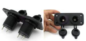 12V/24V Moto/COCHE/bote doble socket de mechero toma/conector macho/hembra