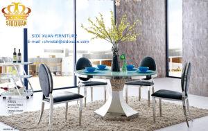 Moderno de vidrio redonda de 6 personas, mesa de comedor con base de acero inoxidable