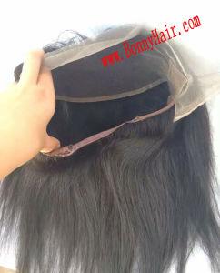 マレーシアのバージンの人間の毛髪360のレースの前部閉鎖のゴムはベルトの赤ん坊の毛の絹をまっすぐに調節する