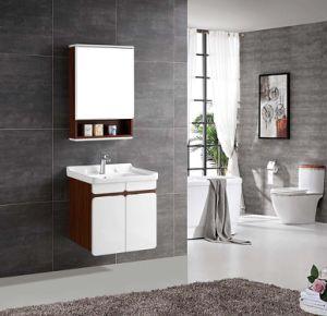 Multi-Layer Stevige Houten Ijdelheid van de Badkamers met Grijze Korrel en Glanzende Witte Kleur