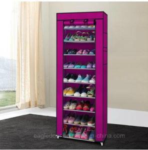 9 étagères de tissu de toile de niveau du caisson de nettoyage du caisson de nettoyage Rail pour armoire de stockage en casiers Chaussures fermeture à glissière de l'organiseur Sapateira permanent Organizador meubles (FS-01A)