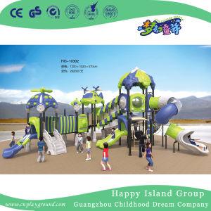 De openlucht Apparatuur van de Speelplaats van het Staal van het Beeldverhaal Blauwe en Groene Luchtschip Gegalvaniseerde voor Kinderen (Hg-10302)