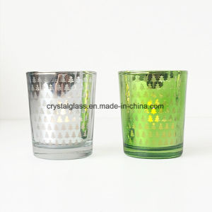 Copo de vidro de vela de galvanização coloridos para decoração