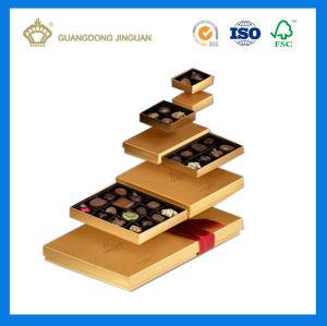 Cuadro de chocolate de oro con la bandeja de color chocolate (con separador interior)