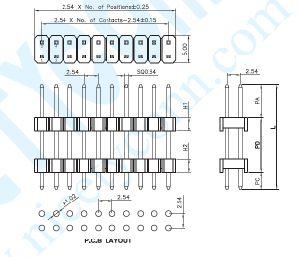 PH 2,54 mm linha dupla de pinos com base dupla