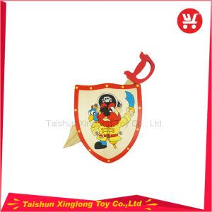 Los niños juguetes de madera al aire libre favoritas de los piratas de la serie de cuchillas de madera y el escudo de madera juguetes de exterior de madera de alta calidad