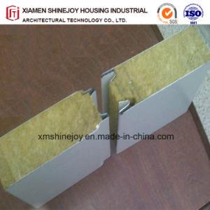 Structure préfabriquée ignifuge panneau sandwich métallique en acier de laine de roche pour nettoyer la chambre Chambre