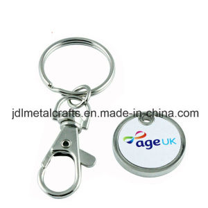 Silber überzogene Drucken-Firmenzeichen-Supermarkt-Einkaufen-Metalllaufkatze-Scheinmünze (029)