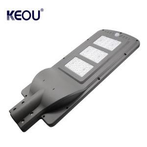 Nuevo precio de fábrica Keou Carcasa para exterior IP65 Resistente al agua 60W Sensor de movimiento inteligente en una sola calle luz LED Solar con batería